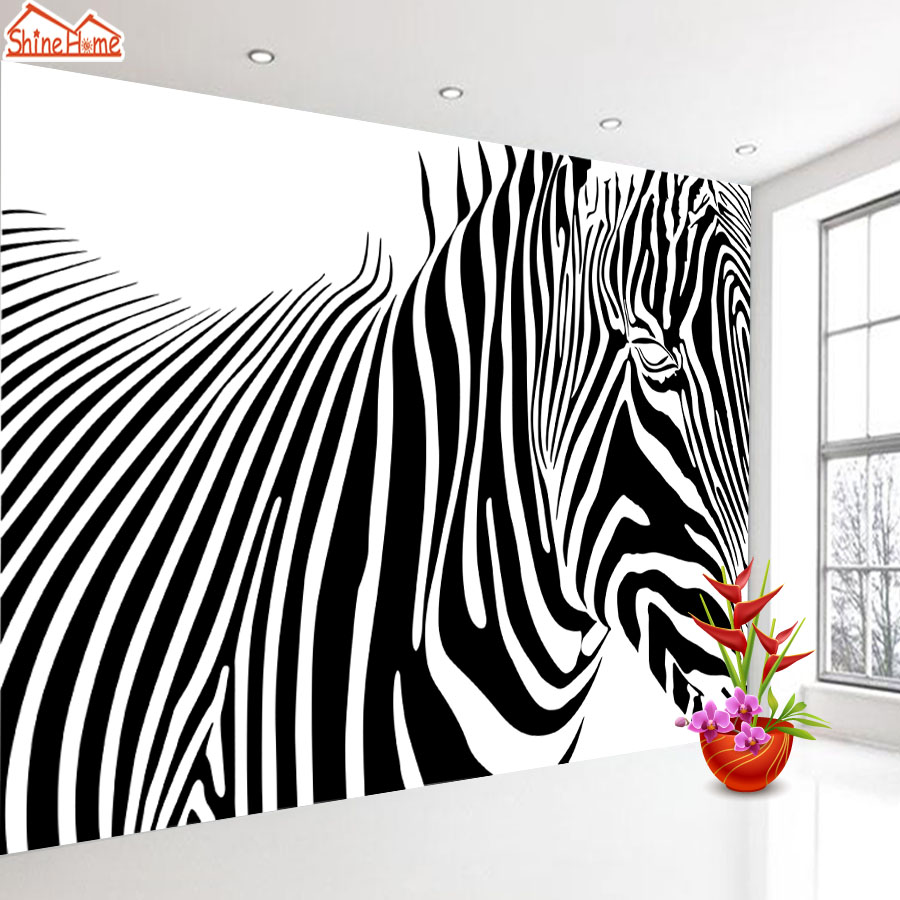 ShineHome-Black and White Zebra Strip Animal Wallpaper for Murals Roll for 3d Walls Wallpapers for 3 d  Living Room Wall Paper shinehome fashion makeups modelling salon beauty cosmetic 3d wallpaper wallpapers photo walls murals for 3 d roll wall paper