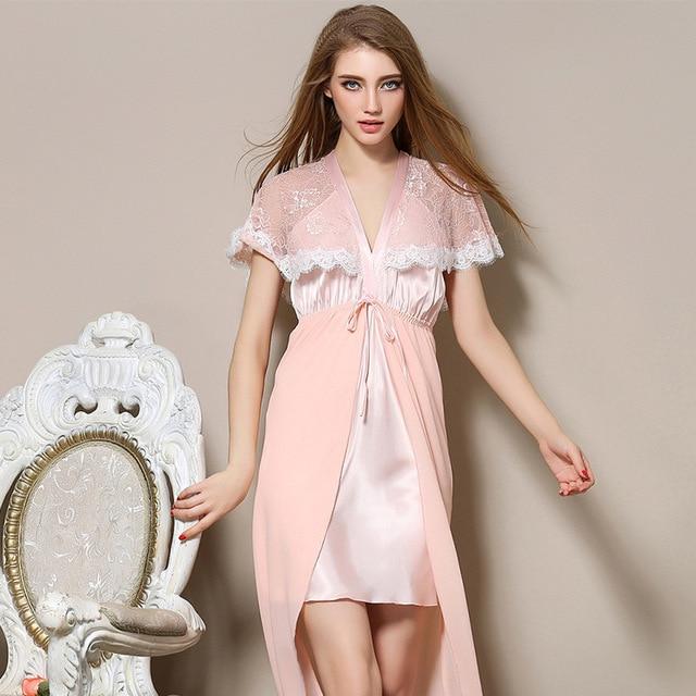 9755fc1d1b067e Lato długi silk kobiety koszula nocna satyna biały sen suknia koronki robe Bielizna  kobiet piżamy seksowna