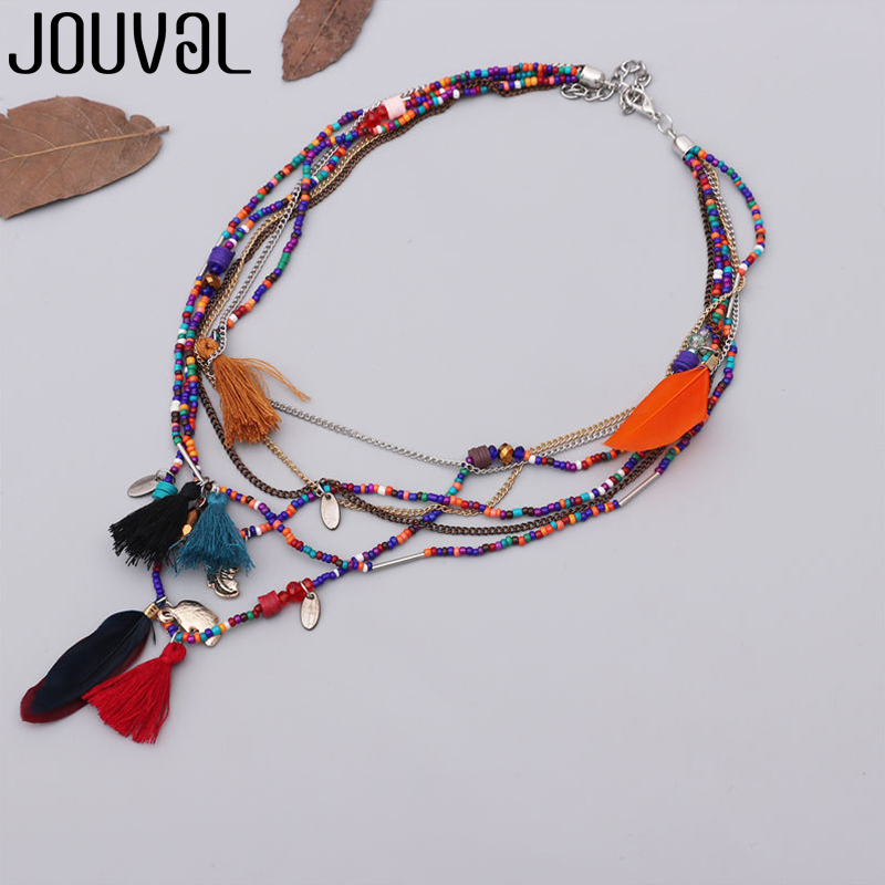 JOUVAL Ethnic Bohemian Feather Pendant Necklace for