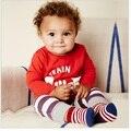 Bebé Ropa de Los Muchachos Tren Stripe Pantalones Niños Camisetas Pijamas Ropa Del Niño Establecidos Moda Niños camisetas pantalones Envío Gratis