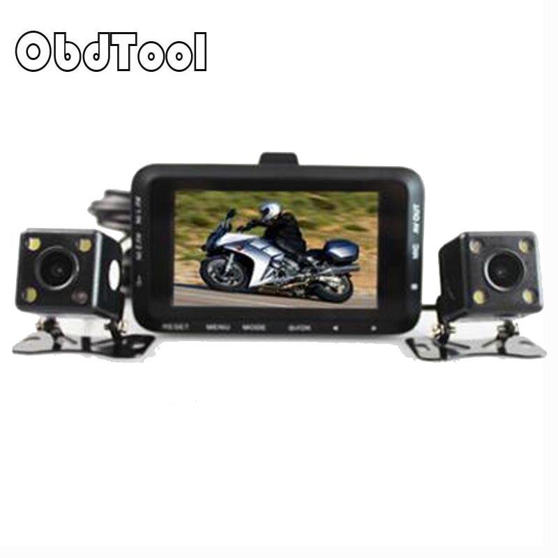 Motorcycle DVR DC 12V 24V Dual Lens Car Camera Rear View 3 140 Degree Motor Video