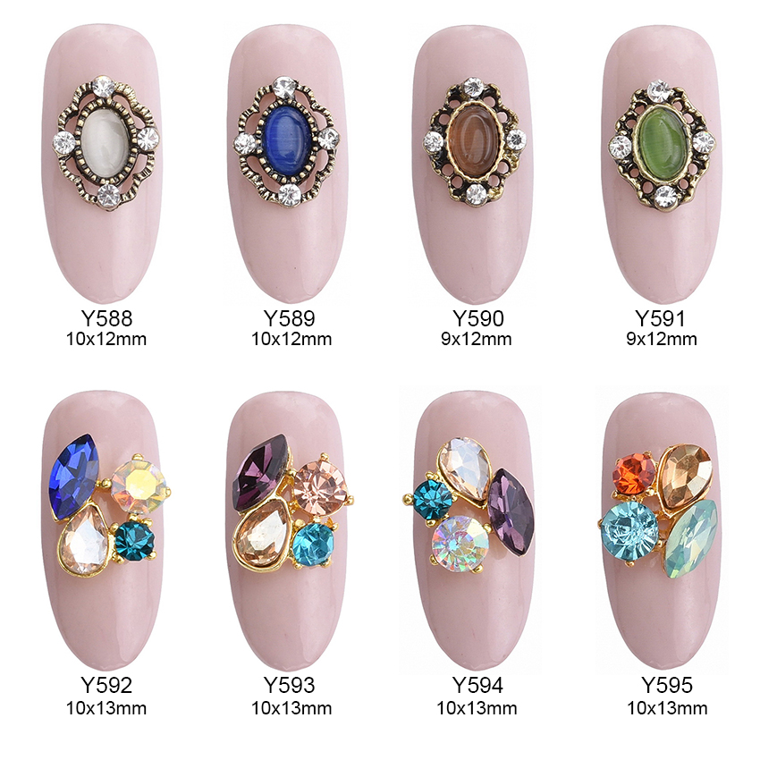 √10pcs New glitter 3D alloy gold strass nail art charms colored ...