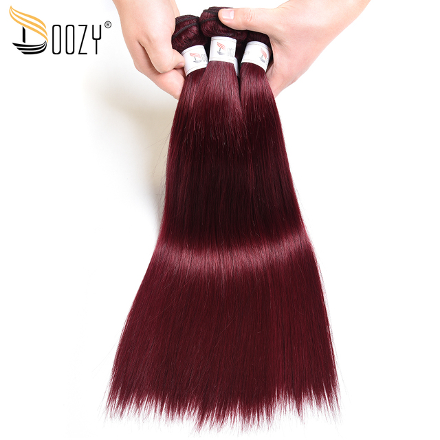 Doozy Straight Brazilian Hair 3 Bundles Color 99j Mahogany Red Remy