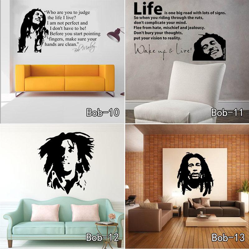 Bob Marley autocollant mural vinyle   Autocollant mural avec citations, affiche murale, Art, papier peint, décoration de maison