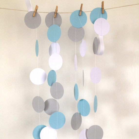 Blue, Grey and White Wedding Garland, Paper Garland Bridal Shower, Baby Shower, Birthday Party, Party Decor, Gold Glitter