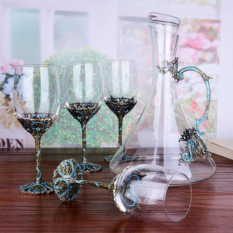 1 Set Europeo Dell'annata Dello Smalto tazza di vetro di vino di Cristallo Calici bicchieri di Vino Rosso bicchieri di champagne Regalo di Nozze Con Il Contenitore di Regalo 350ml-in Bicchieri da vino da Casa e giardino su  Gruppo 1
