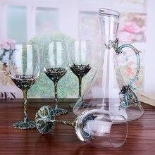 1 סט אירופאי בציר אמייל יין זכוכית כוס גביעי קריסטל אדום יין משקפיים כוסות שמפניה חתונה מתנה עם אריזת מתנה 350ml
