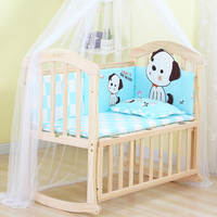 European style solid wood baby crib multi function infant bed cozy bed child cradle bed shaker bed game playpen variable desk