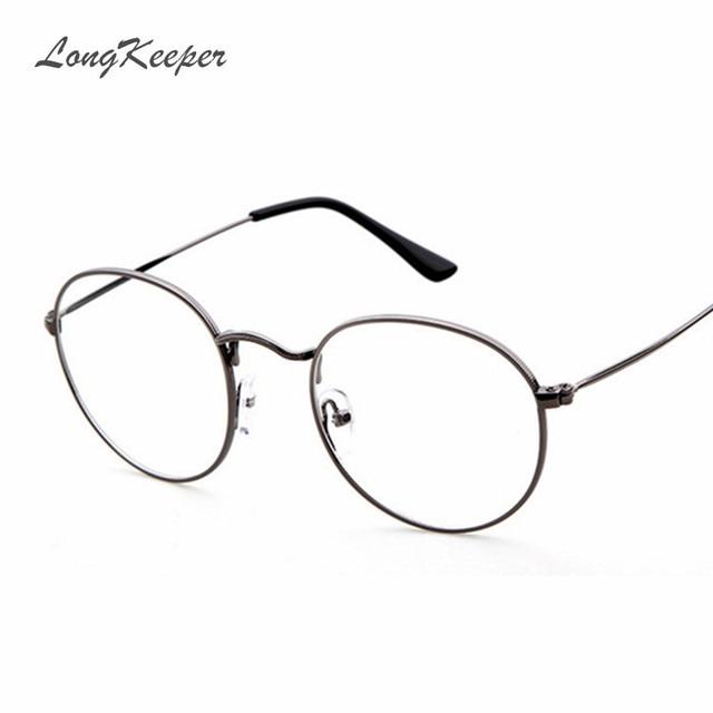 6a659775e7da 2017 New Woman Glasses Frames Optical Metal Men Glasses Clear Lens Round  Eyewares Brand Designer Eyeglasses Gold Silver