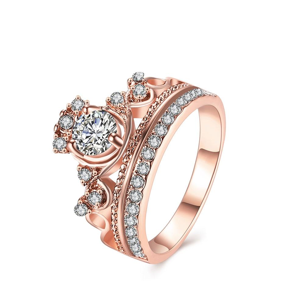 Luxury 18k Rose Gold Crown Ring Cubic Zirconia Wedding