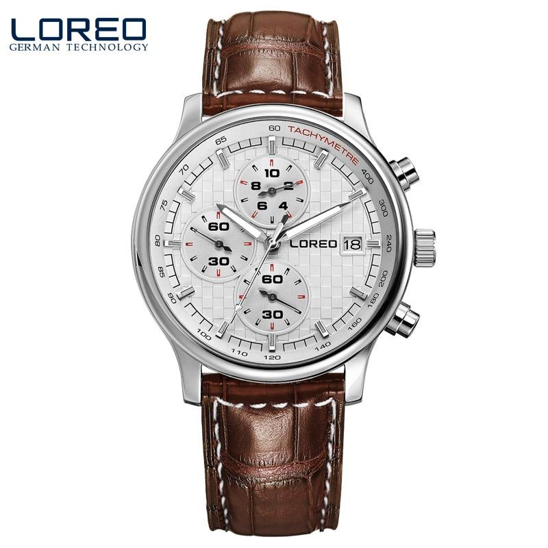 ФОТО LOREO quartz sapphire water resistant 5ATM brown Leather belt luminous Calendar Chronograph