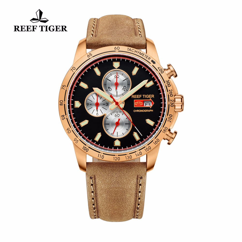 Reef Tiger/RT Sport Watch for Men Chronograph Quartz Watch With And Super Luminous Watch Italian Calfskin Leather Band RGA3029 yn e3 rt ttl radio trigger speedlite transmitter as st e3 rt for canon 600ex rt new arrival