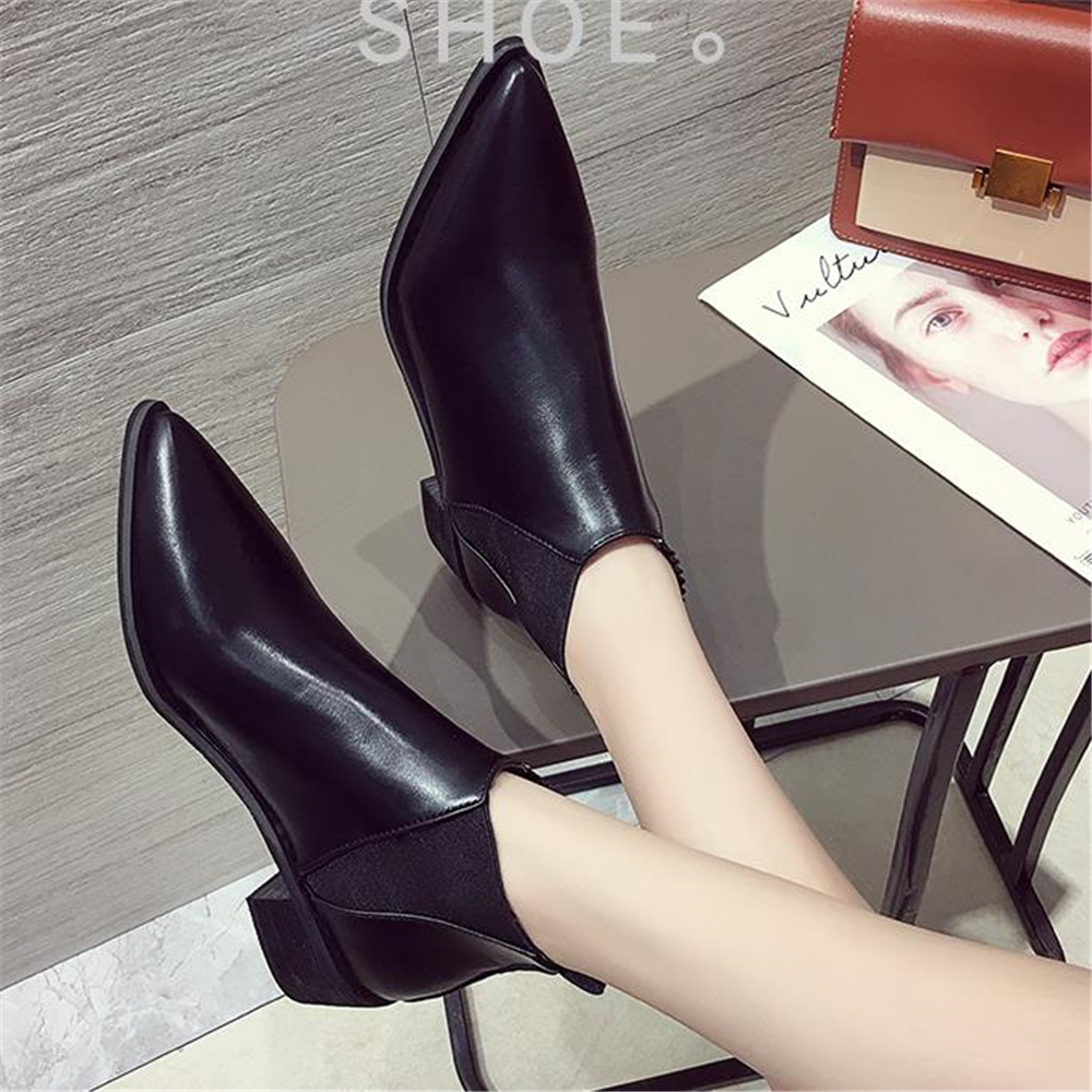 fashion European style Martin British style 2018 fall new student style Korean style black top Chelsea ankle boots women's shoes fashion style