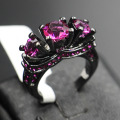 Victoria Wieck Vintage Jewelry Amethyst Crystal 10KT Black Gold Filled 2 Wedding band Ring Set Sz 5-11 Gift Free shipping