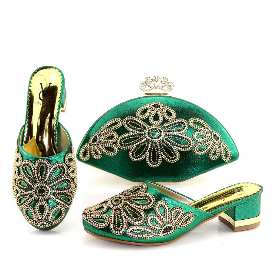 High Quality Matching Italian Shoe and Bag New Green Color Matching Shoe and Bags for African Party Nigerian Shoes and Bag Sets hot artist shoes and bag set african sets italian shoes with matching bags high quality women shoes and bag to match set mm1055