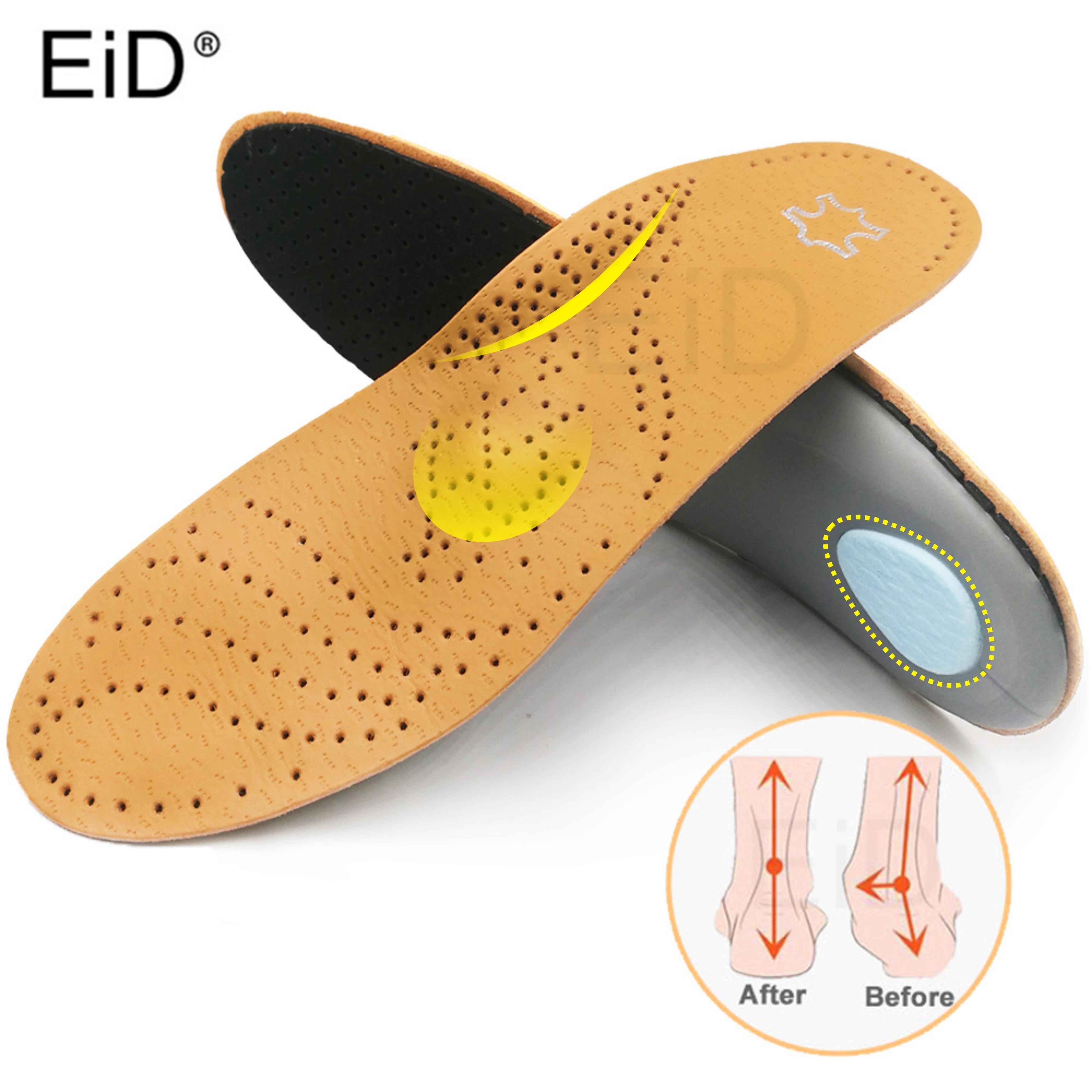 31cfe3cc3 EID ortopédicos palmilha de Couro de Alta qualidade para sapatos sole Palmilhas  Pés Chatos ortopédicos Arch Apoio para os pés dos homens e mulheres BOI ...