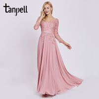 Tanpell Appliques Long Evening Dress Elegant Peach Full Sleeves Floor Length A Line Gown Women Chiffon