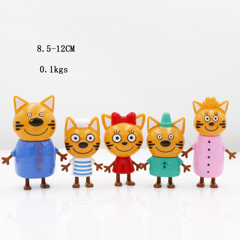 5 pcs Three Little Kittens Happy Cats Toy Russian Cartoon Action Figure Cute Anime Mini Plastic Dolls Gifts Toys for Children image