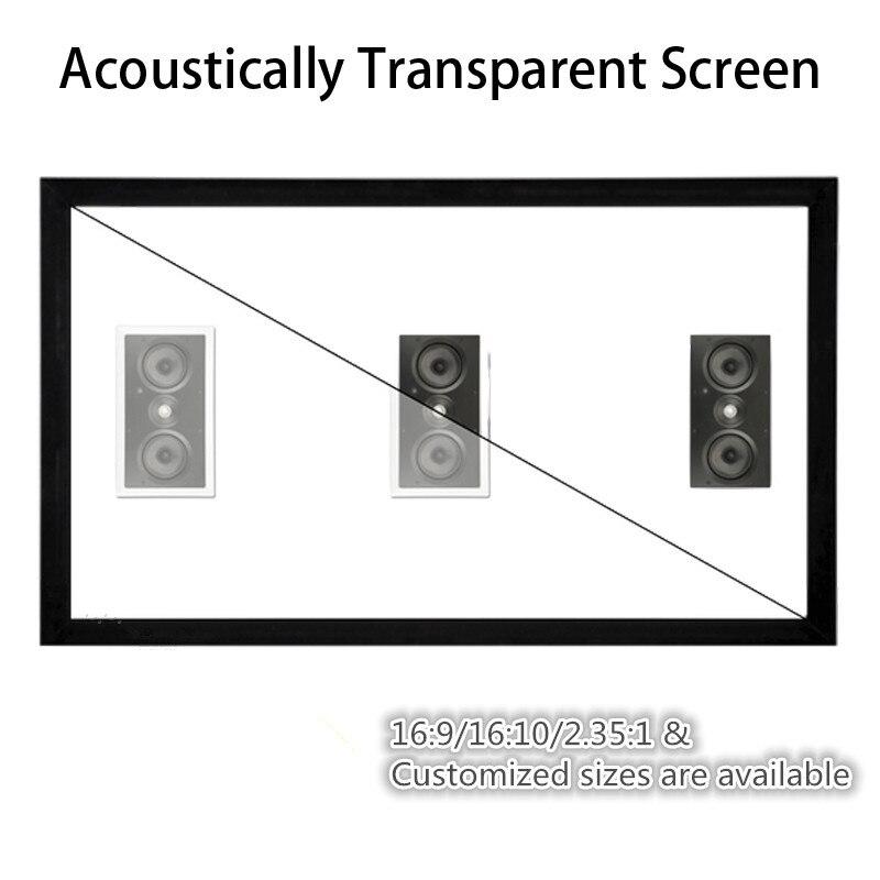 F1HWAW Homecinema 16:9 HDTV 4 k Branco Tecido Acústico Som acusticamente transparente tela de projeção quadro Fixo projetor