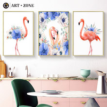 ART ZONE Flamingo Nordic Canvas Painting Blue Flower Minimalist Art Poster Picture DIY Home Living Room Bedroom Decor Poster(China)
