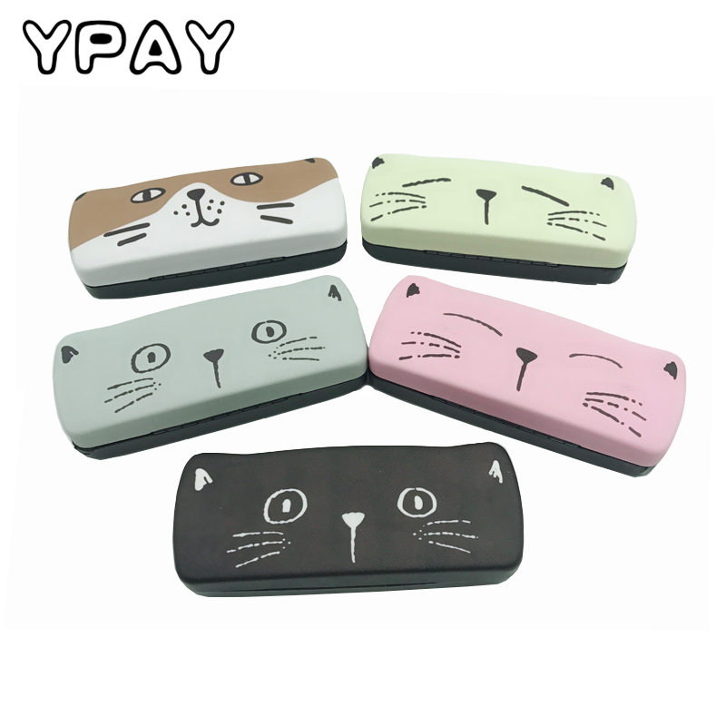 Small Fresh Cartoon Cat Creative Glasses Box Myopic Lens Student Glasses Box Anti-pressure Sunglasses Receive