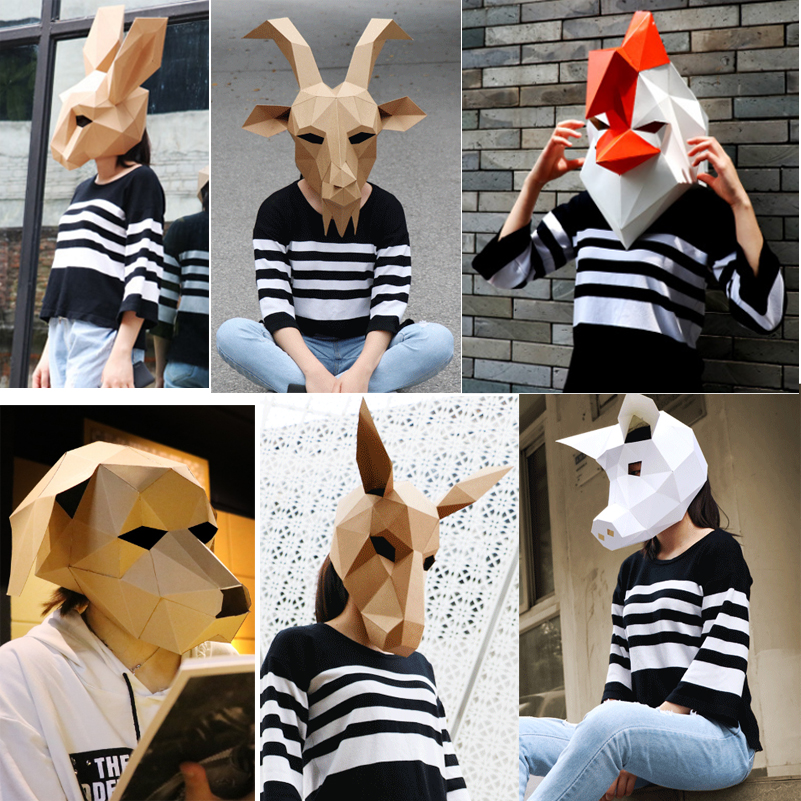 Dog Head Face Adult Animal Mask Halloween Party Decor Cosplay Costume Lovely Penda Mask DIY Party Tricky Funny Mask Photo Prop ...