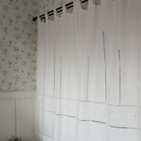 Free Shipping Rustic Hollow White Embroidered Suspenders Lace Curtains French Window Bedroom Kitchen Curtains Two Sizes