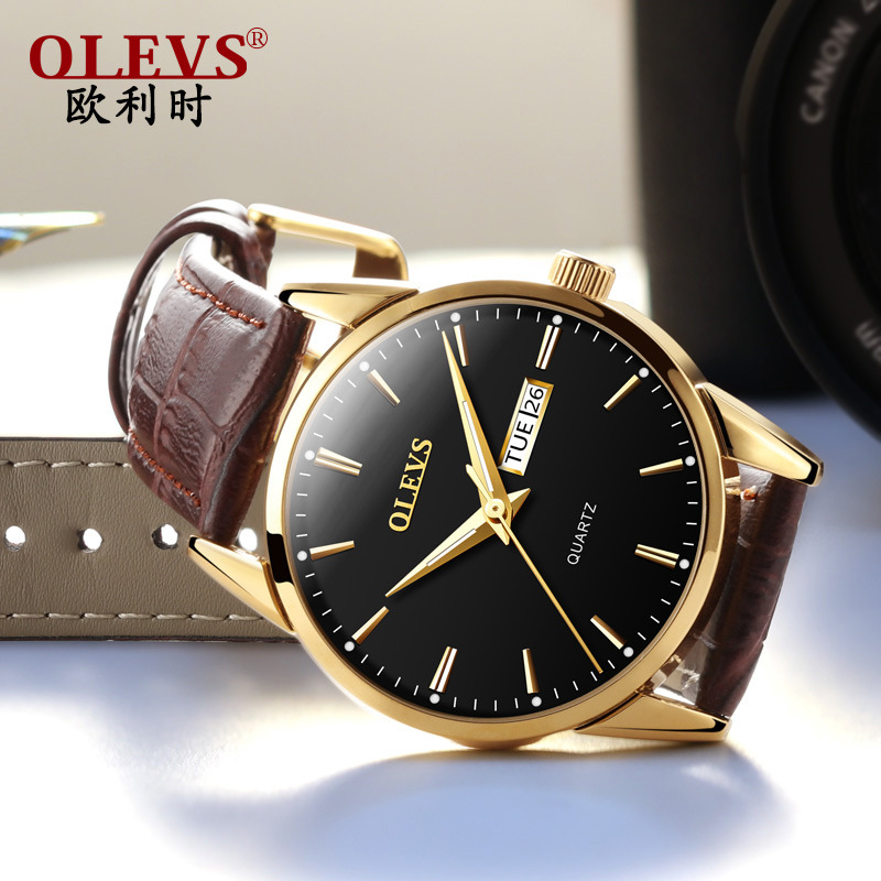 OLEVS top brand luxury High Quality Rose Gold Dial Men Watch Date Day Genuine Leather Strap Fashion Women Watch|watch brand|watch f|watch fashion - title=