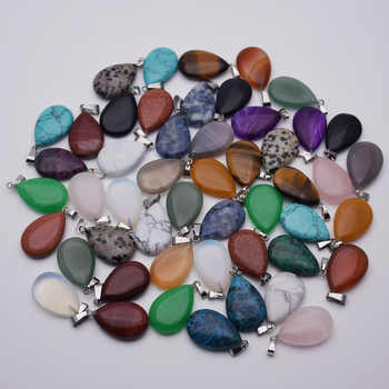fashion mixed warter drop natural stone pendant for jewelry making charm Point accessories 50Pcs/lot Free shipping Wholesale - DISCOUNT ITEM  22 OFF Jewelry & Accessories