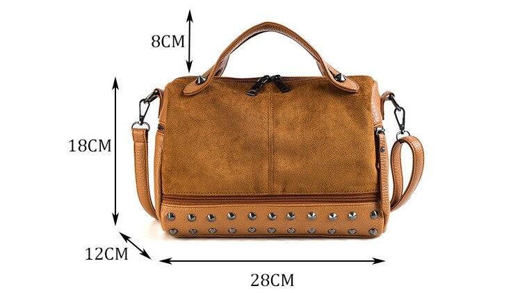 Vintage Rivet women Handbag Matte leather Boston Big Tote bag Winter new Shoulder Bags for Women Messenger Bag Blosa Sac (12)