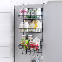 Iron storage basket kitchen refrigerator side rack wall mounted dormitory bedside hanging basket storage shelf mx7161641