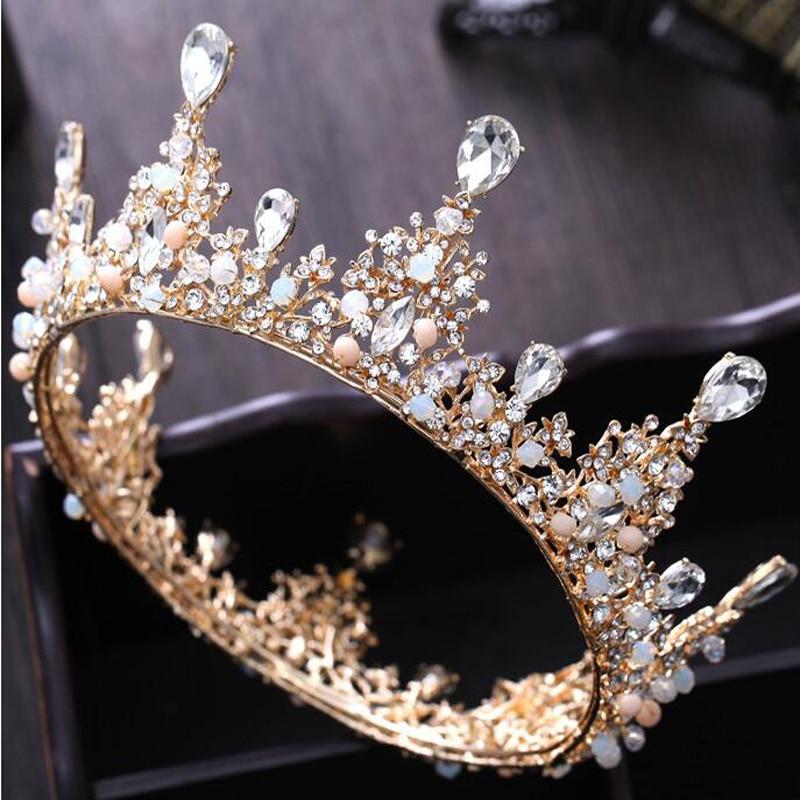 New Style Fashion Gold Crystal Wedding Crown Tiara Hair Jewelry Round  Rhinestone Pink Beads Bridal Headpieces bc05e3e7d802
