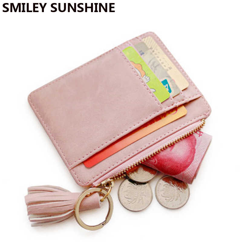 SMILEY SUNSHINE Nubuck Leather Mini Tassel Women Card Holder Cute Credit ID Card Holders Wallet Case Change Coin Purse Keychain