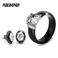 שחור סטי תכשיטי חתונה גביש מכירה חמה עגיל קרמיקה לבן וטבעות סטים עם ביג יהלומים מלאכותיים קראט לנשים תכשיטים