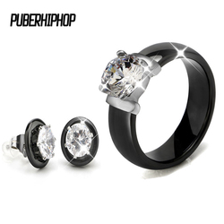 Hot Sale Crystal Wedding Jewelry Sets Black White Ceramic Earring and Rings Sets  With Big Carat Rhinestone For Women Jewellery