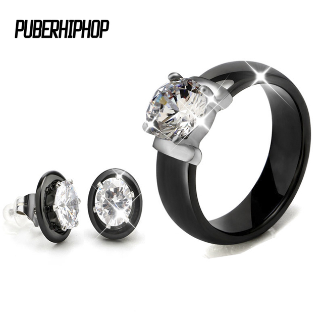 Hot Sale Crystal Wedding Jewelry Sets Black White Ceramic Earring and Rings Sets
