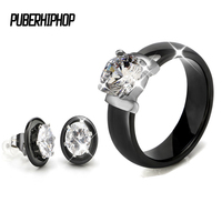 Hot Sale Crystal Wedding Jewelry Sets Black White Ceramic Earring And Rings Sets With Big Carat