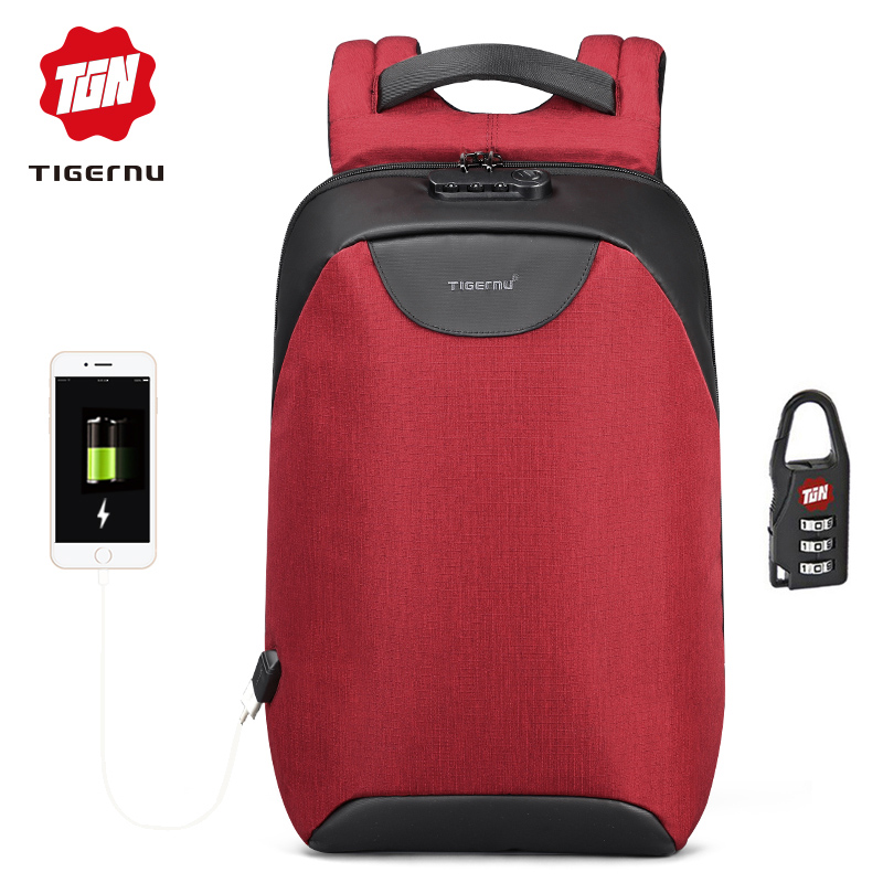 Tigernu New Arrival Men Splashproof Bag USB Charging Backpack Business Travel Backpack Fit 15.6 Inch Laptop Free Shipping 2017 new man waterproof travel backpack fashion 14 15 inch laptop business backpack men s gift office bag free shipping