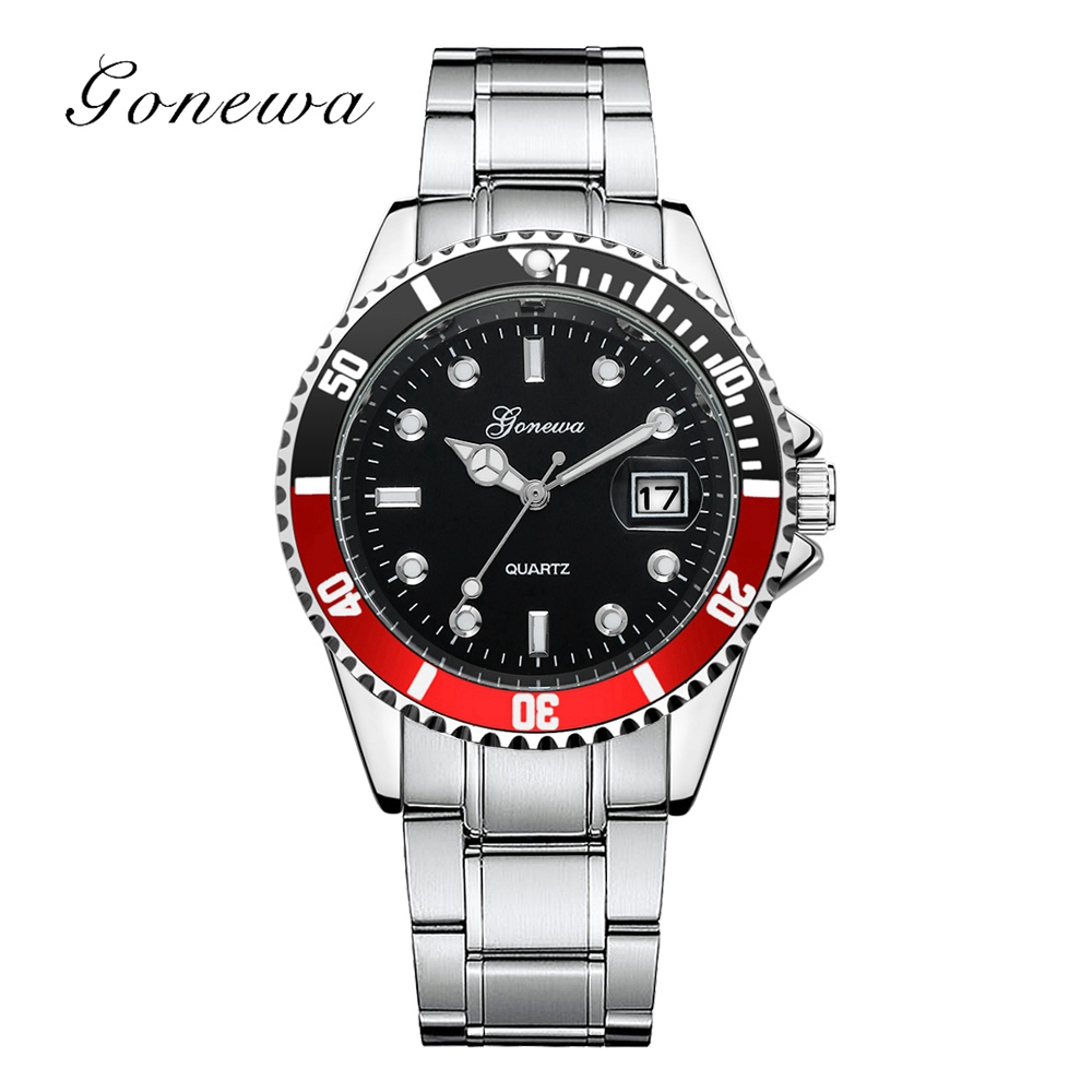 Gonewa Brand 2018 Silver Men Watch Fashion Calendar Stainless Steel Wrist Quartz Watches Man Waterproof Clock Creative Watch