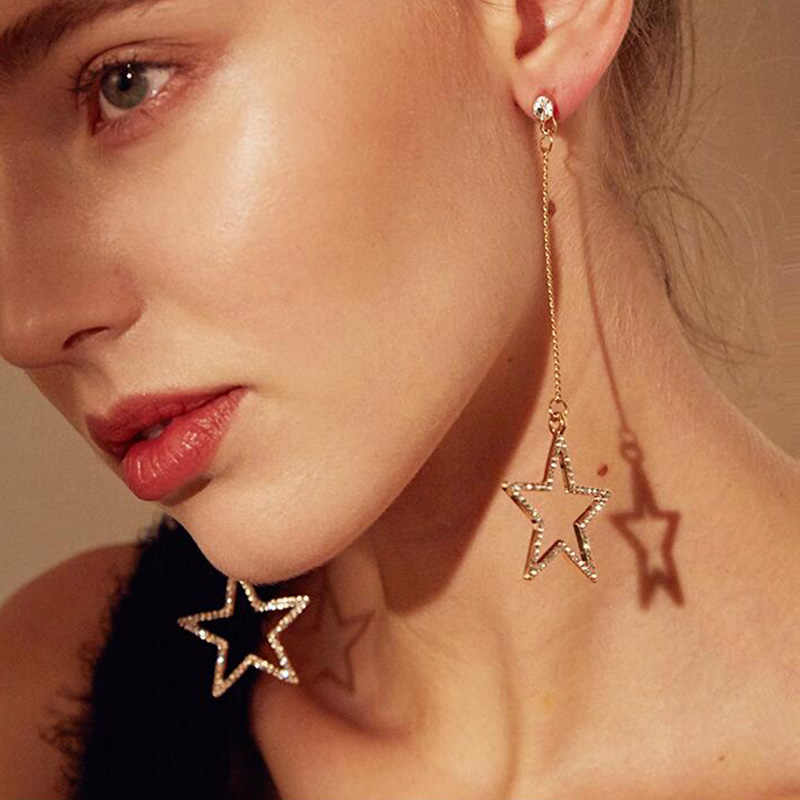 RscvonM Arrivals Hot Fashion Brincos Bijoux Pentagram Star Metal Chain Long Statement Tassel Earrings For Wome Jewelry
