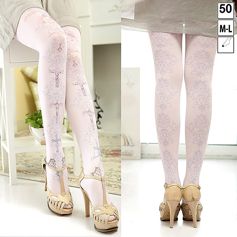 2017 New Sexy Women Seamless Pantyhose Stockings Cross Pattern High Waist Gothic Tights Pink