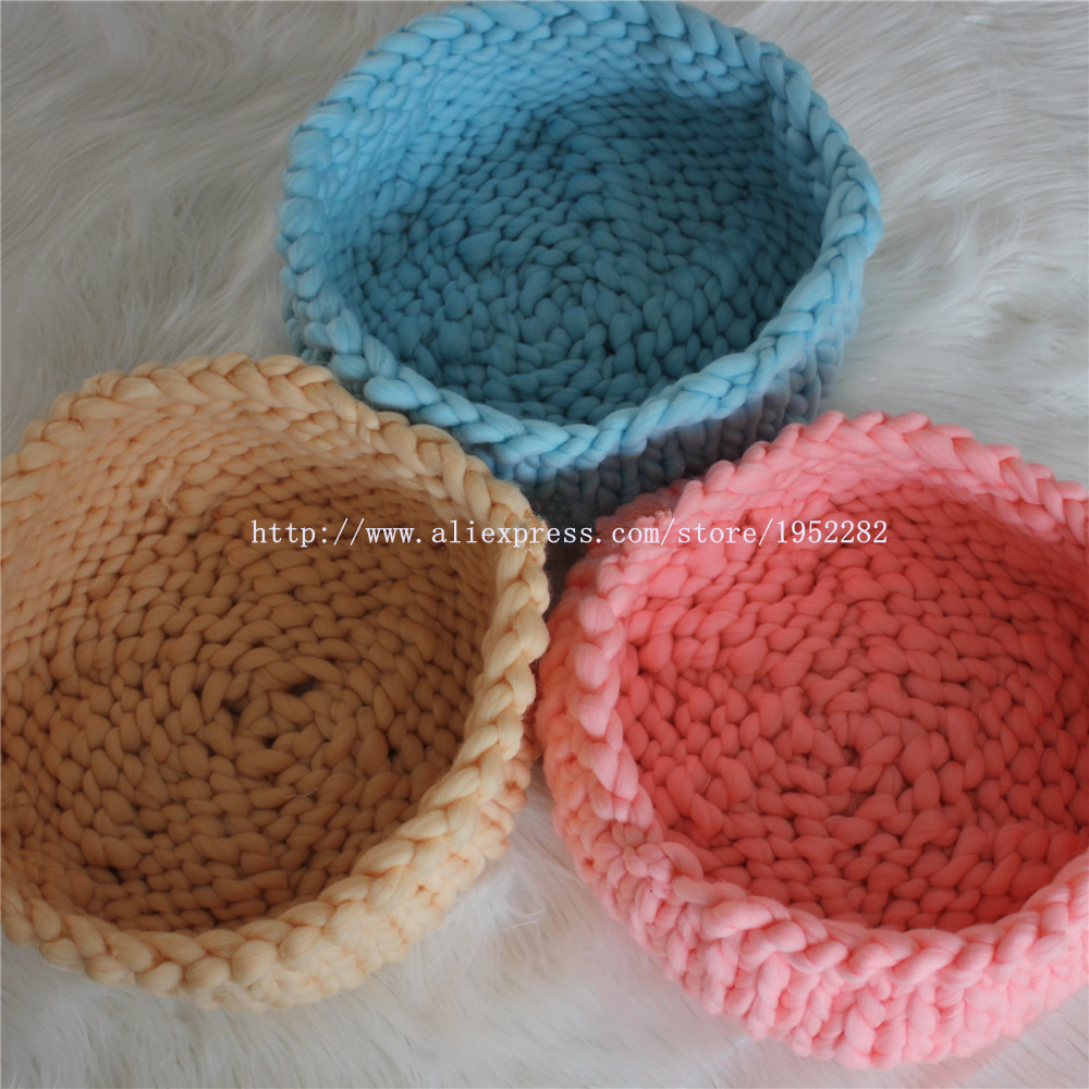 New Creative Chunky Knit Cocoon Nest Pod Photography Prop Handmade Woven Basket Newborn Baby Infant Boat Box