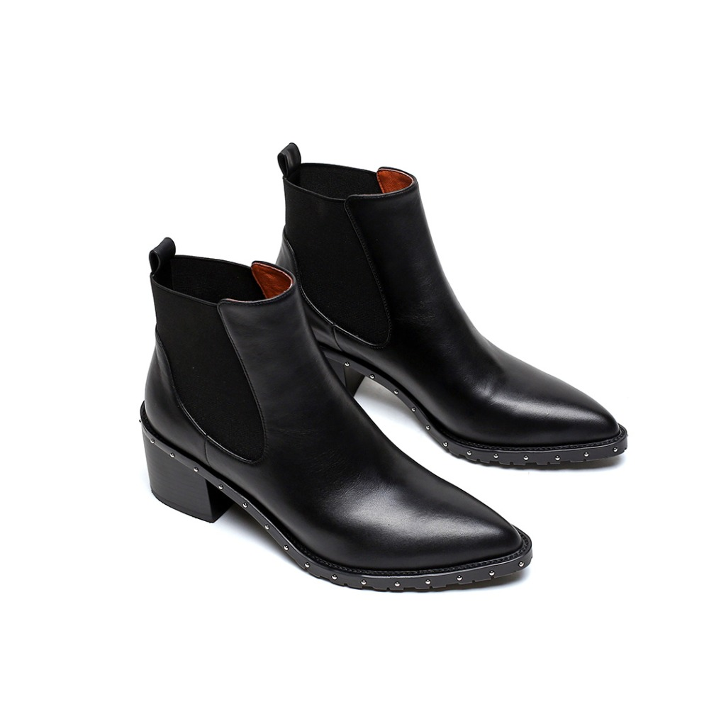 sports shoes ae6a9 a4ee8 US $54.38 45% OFF|Superstar Street Ankle Boots Winter Boots Natural Leather  Women's Square Heel Low Shoes Rivet Chelsea Boot Female Footwear 2018-in ...