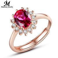 Fashion Women Red Ruby Gem Rose Gold Plated Engagement Wedding Rings Design Silver Open Adjusted Ring