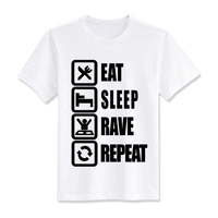 Cotton Casual Men Short Sleeves Shirts Summer Eat Sleep Rave Repeat Print Tops Tees T Shirts