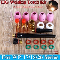 New 31Pcs TIG Welding Torch Stubby Gas Lens Glass Pyrex Cup Collect Body Kit for WP 17/18/26 Series Welder Tool Accessory