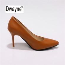 Большой Размеры Для женщин обувь 9 см на высоком каблуке ТВ Лето хорошее туфли-лодочки из искусственной кожи обувь для вечеринок для женская свадебная обувь