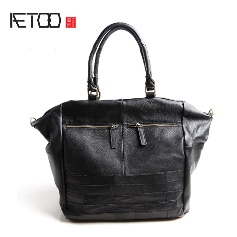 AETOO Europe and the United States fashion retro bag Messenger large leather europe and the united states style first layer of leather lychee handbag fashion retro large capacity solid business travel bus
