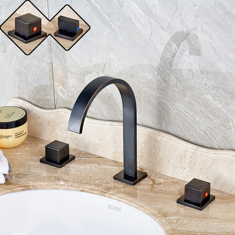 Classic Deck Mounted Widespread 8 inch Basin Sink Faucet Dual Square Handle Bathroom Hot and Cold Water Taps widespread black bathroom faucet deck mounted waterfall bath sink basin hot and cold water taps dual handle mixers