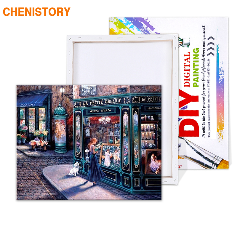 CHENISTORY Fairy Tale Store Modern Oil Paint Wall Art Picture DIY Painting  By Numbers HandPainted Home Decor Artwork Unique Gift